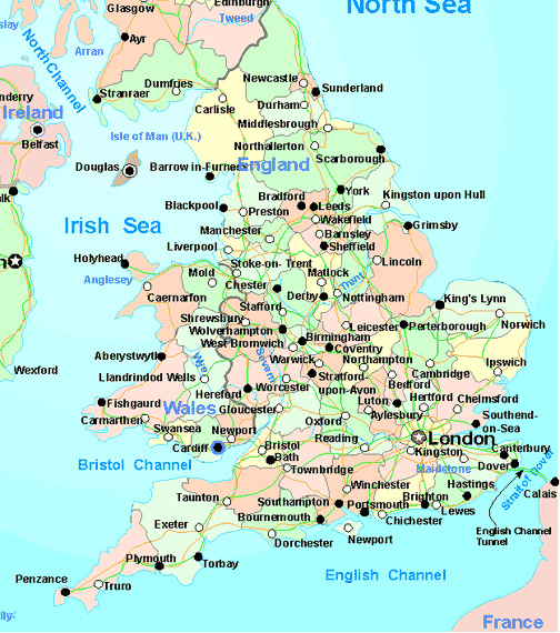 map of cities in England